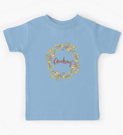 Audrey lovely name and floral bouquet wreath Kids Tee