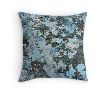 Blue Peeling Paint Abstract Texture Throw Pillow