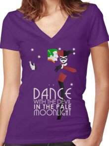 Dance with the Devil in the Pale Moonlight Women's Fitted V-Neck T-Shirt