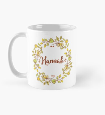 Hannah lovely name and floral bouquet wreath Mug