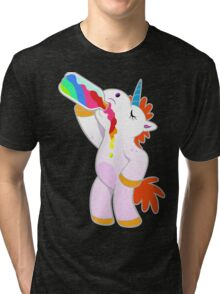 Drunk Unicorn rainbow Tri-blend T-Shirt