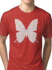 #DeepDream White Butterfly Tri-blend T-Shirt