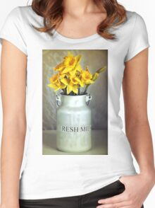 Milk Jug and Daffodils  Women's Fitted Scoop T-Shirt