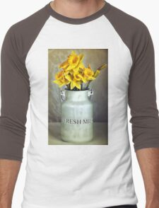 Milk Jug and Daffodils  Men's Baseball ¾ T-Shirt