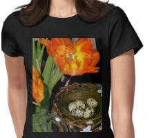 HAPPY EASTER ! - Easter Nest with Eggs and orange Tulips Womens Fitted T-Shirt