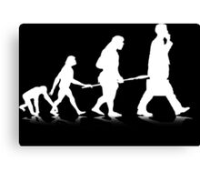 Human Evolution (white) Canvas Print