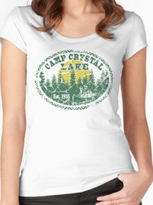 Camp Crystal Lake Retro Distressed Women's Fitted Scoop T-Shirt