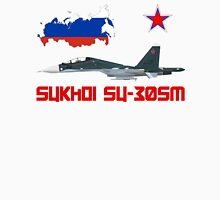 Sukhoi Su-30SM Flanker-C VKS Flag and Map Russian Unisex T-Shirt