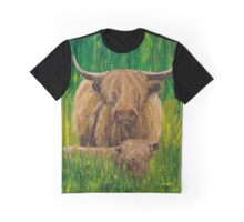 Scottish Highland Cow with Calf Graphic T-Shirt