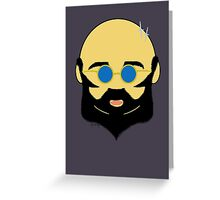 Facial hair with shiny bald head Greeting Card