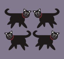 4 Black Cats in Red Collars Kids Tee