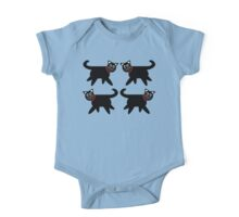 4 Black Cats in Red Collars One Piece - Short Sleeve