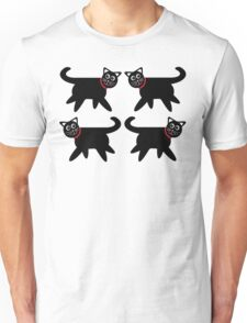 4 Black Cats in Red Collars Unisex T-Shirt