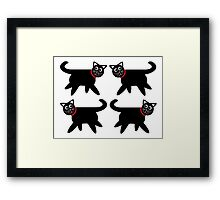 4 Black Cats in Red Collars Framed Print