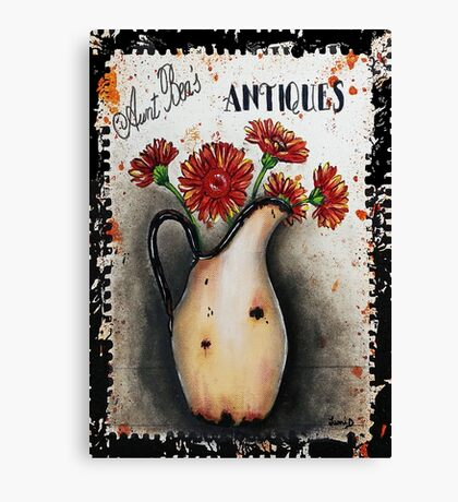 Vintage Sign Art Gerbera Daises Canvas Print