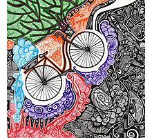Bicycle abstract art drawing crazy mind Photographic Print