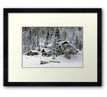 Cafe at Lake Montriond in winter Framed Print