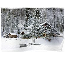 Cafe at Lake Montriond in winter Poster
