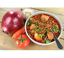 Brown Lentil Soup with Sausage Photographic Print