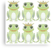 3 Crowned Frogs and 3 Crownless Frogs Canvas Print