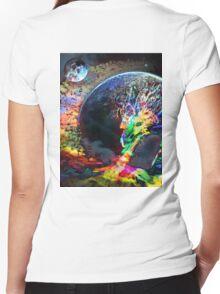 Rainbow Dragon Women's Fitted V-Neck T-Shirt