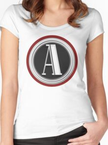 Deco Cafe Marquee  Monogram  letter A Women's Fitted Scoop T-Shirt