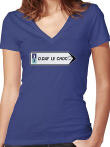 """""""D-Day The Clash"""" Sign, Omaha Beach, Normandy, France Women's Fitted V-Neck T-Shirt"""