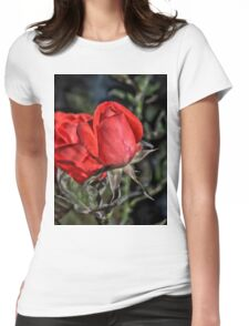 Red Rose HDR Womens Fitted T-Shirt