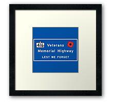 """Veterans Memorial Highway"" Sign, Ontario, Canada Framed Print"