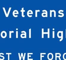 """Veterans Memorial Highway"" Sign, Ontario, Canada Sticker"