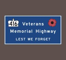 """Veterans Memorial Highway"" Sign, Ontario, Canada One Piece - Short Sleeve"