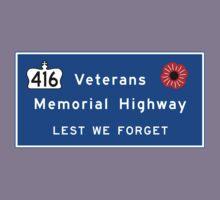 """""""Veterans Memorial Highway"""" Sign, Ontario, Canada Kids Tee"""