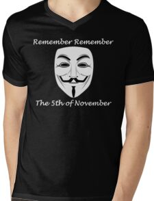 Guy Fawkes - Remember Remember Mens V-Neck T-Shirt
