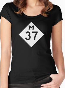 M-37 Highway Sign, Michigan Women's Fitted Scoop T-Shirt