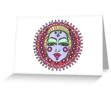 Mandala Face Bejeweled Blond Greeting Card