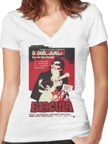 Blacula Women's Fitted V-Neck T-Shirt