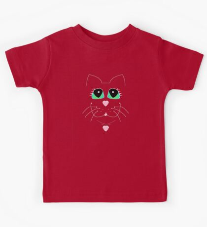 Cat With Sweet Heart Pendant Kids Tee