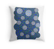 Geometric Bubbles Bluish Throw Pillow