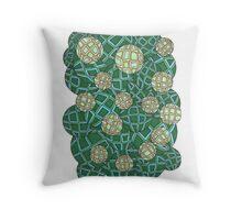 Geometric Bubbles Greenish Throw Pillow