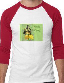 Happy Birthday - Eastern Tiger Swallowtail Butterfly Men's Baseball ¾ T-Shirt