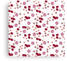 Cherry lollipops, candy and chewing gum seamless pattern background texture Canvas Print