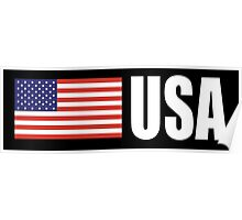 American Flag, USA, Stars & Stripes, Pure & Simple, America, WHITE TYPE on BLACK Poster