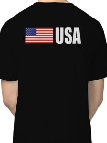USA, American, Flag, USAStars & Stripes, Pure & Simple, America, WHITE TYPE on BLACK Classic T-Shirt