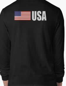 American Flag, USA, Stars & Stripes, Pure & Simple, America, WHITE TYPE on BLACK Long Sleeve T-Shirt
