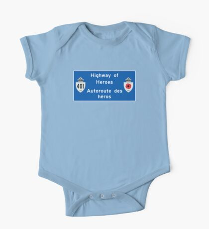 """Highway of Heroes"" Sign, Ontario, Canada One Piece - Short Sleeve"