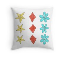 turquoise flower, yellow star, red diamond Throw Pillow