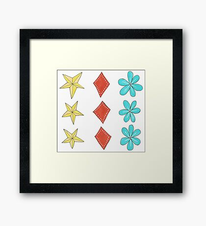 turquoise flower, yellow star, red diamond Framed Print