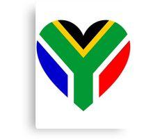 South Africa Flag Heart Canvas Print