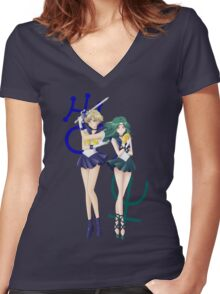 Sailor Uranus & Neptune Crystal III Women's Fitted V-Neck T-Shirt