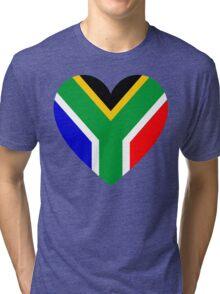 South Africa Flag Heart Tri-blend T-Shirt